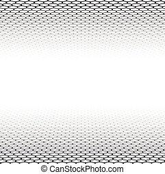gitter, sechseckig, perspektive, surface.
