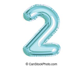 glänzend, geburstag, dusche, baby, party, zwei, luft, vektor, feiern, blaues, zahl, balloon
