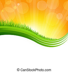 Glänzender Hintergrund mit grünem Gras