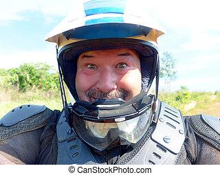 glücklich, helm, 2, enduro, motorradfahrer, muede