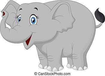 glücklich, karikatur, elefant