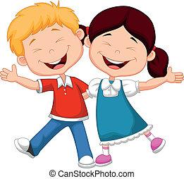 glücklich, karikatur, kinder