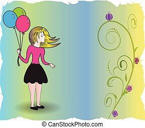 glücklich, karte, luftballone, jubiläum, m�dchen