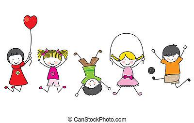 glücklich, kinder, spielende