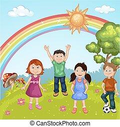glücklich, reizend, gruppe, karikatur, kinder
