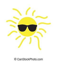 glücklich, sonne, sonnenbrille