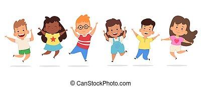glücklich, springende , zusammen, kinder
