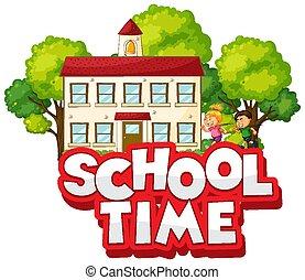 glücklich, zeit, design, kinder, schriftart, wort, schule