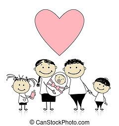 Glückliche Eltern mit Kindern, neugeborenes Baby in den Händen.