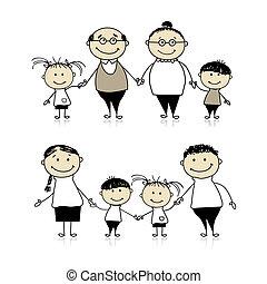 Glückliche Familie zusammen - Eltern, Großeltern und Kinder