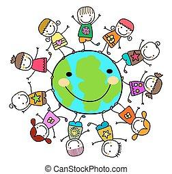 Glückliche Kinder, die um den Erdplaneten spielen.