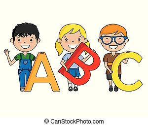 Glückliche Kinder mit dem Alphabet