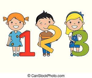 Glückliche Kinder mit Zahlen