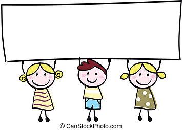 Glückliche, süße kleine Mädchen und Junge mit leerem Banner - Cartoon Illustration.