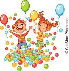 Glücklicher Junge und Mädchen spielen mit bunten Bällen auf dem Spielplatz