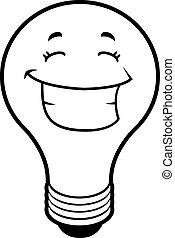 Glühbirne lächelnd.