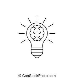 Glühbirne mit einer Ikone in der Hirnlinie.
