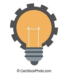 Glühbirne mit Getriebe-Ikone.