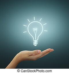 Glühbirnes Bild in der Hand