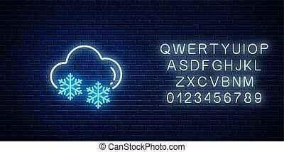 glühen, neon, prognose, symbol, wolke, schneeflocke, verschneiter , wetter, ikone, stil, alphabet.