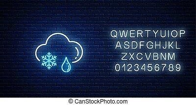 glühen, neon, wolke, schneeflocke, regen, wetter, ikone, symbole, schneestil, tropfen, alphabet.
