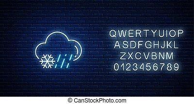 glühen, prognose, neon, regnerisch, symbol, verschneiter , regen, wetter, ikone, schneestil, alphabet.