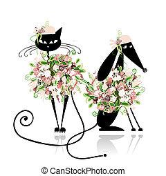 Glamor Katze und Hund in Blumenkleidern für dein Design