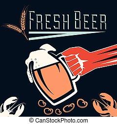 glas, bier, retro, abbildung, hand