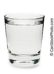 Glas Wasser auf weißem Hintergrund.