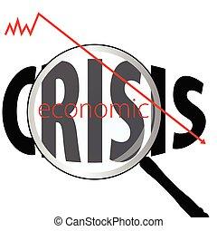 glas, wirtschaftlich, vergrößern, abbildung, krisen