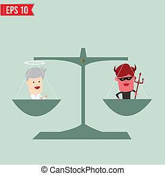Gleichgewicht des guten und schlechten Konzepts - Vector Illustration - EPS10.