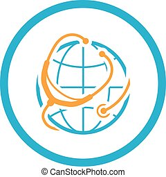 Global Healthcare Icon. Flat Design.