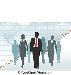 Globale Geschäftsleute gehen von der Weltkarte aus