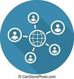Globale Kontakt-Ikone. Flat Design.