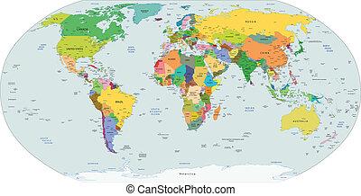 Globale politische Karte der Welt,