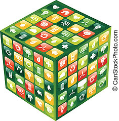 Globales Mobilfunktelefon grüne Apps icons Würfel