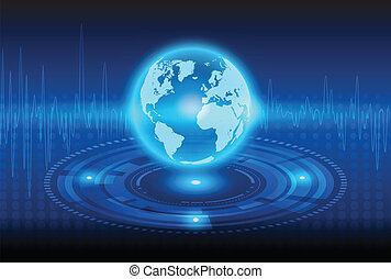 Globalisierungstechnologie und mechanischer abstrakter Hintergrund.