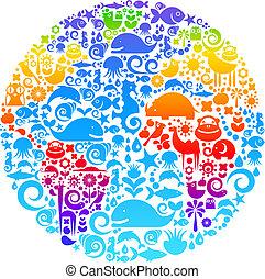 Globe-Ausschnitt aus Vögeln, Tieren und Blumen-Ikonen