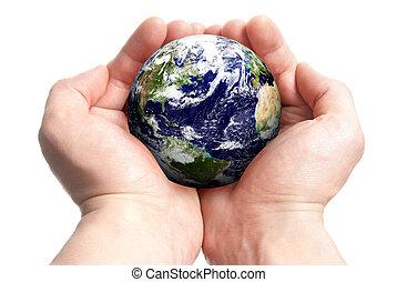 Globe in den Händen