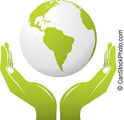 Globe mit Händen