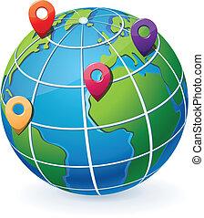 Globe mit Standortangaben