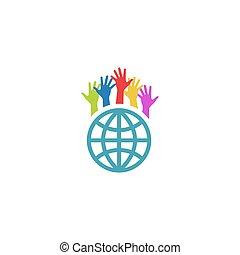 Globe und farbenfrohe Hände hoch, Schein-Freiwilligen-Logo.