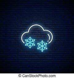 Glowing neonschneebedeckte Wetter-Ikone. Snowflake Symbol mit Wolke im Neonstil zu Wettervorhersage in mobile Anwendung