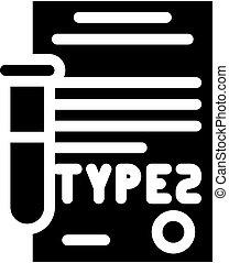 glyph, 2, zuckerkrankheit, art, wohnung, ikone, vektor, abbildung