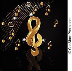 gold, notizen, musikalisches, render