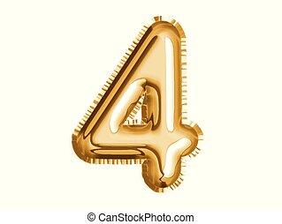Gold Nummer vier Luftballon für Babyparty feiern Dekorationsparty.