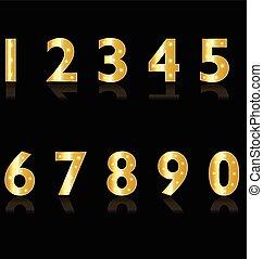 Gold-Nummern mit Licht-Logo.