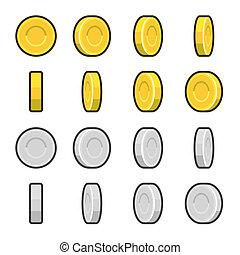 gold, rotation, angles., geldmünzen, silber, verschieden