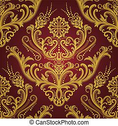 gold, &, tapete, luxus, blumen-, rotes