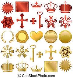 Gold und rote Dekorationen